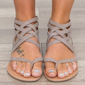 Shoes - Grey strappy flat sandals